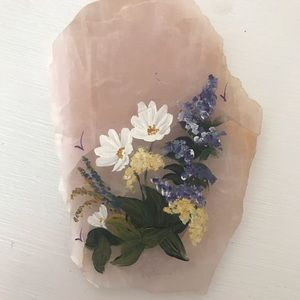Hand Painted Florals on Rose Quartz